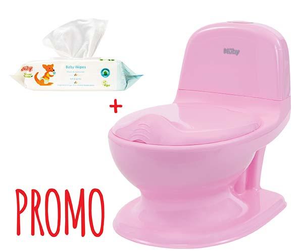 """Promo: """"Mon pot à moi"""" pot d'apprentissage rose - 18m+ et 80 Lingettes bébé GRATUITES"""